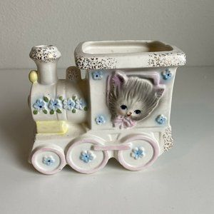 60s Napcoware Baby Nursery Planter Cat Train Vase